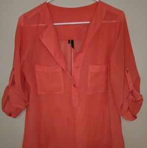 Tops - Maurice's Medium Coral Pink Sheer Top